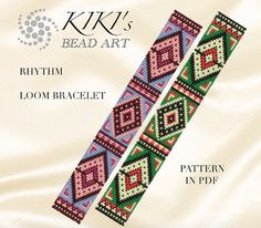 This is an own designed pattern in PDF format, downloadable directly from Etsy.  This pattern is for my rhythm, ethnic inspired LOOM bracelet which is created using Japanese delica beads.  The pdf file includes both versions for: 1. a large picture of the pattern 2. a large, detailed graph of the pattern, 3. a bead legend with the colour numbers and count of the delica beads for the suggested length 4. a word chart of the pattern  Please note that my patterns do not include instructions for…