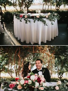 rose and eucalyptus garnished sweetheart table