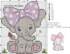 Elephant Cross Stitch, Cross Stitch Owl, Baby Cross Stitch Patterns, Cross Stitch For Kids, Cross Stitch Bookmarks, Cross Stitch Charts, Cross Stitching, Crochet Elephant Pattern, Cross Stitch Christmas Ornaments