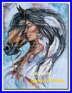Taylor Native American Horse Ceramic Accent Tile x - - stuff for the kids room Native American Horses, Native American Paintings, Native American Images, Native American Beauty, American Indian Art, Indian Paintings, Native American Drawing, Horse Paintings, Abstract Paintings