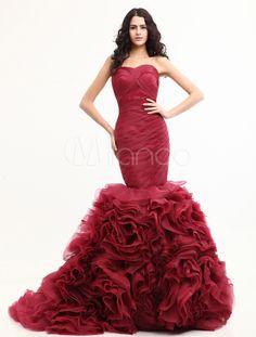 Burgundy Mermaid Trumpet Sweetheart Organza Gossip Girl Fashion Dress - Milanoo.com
