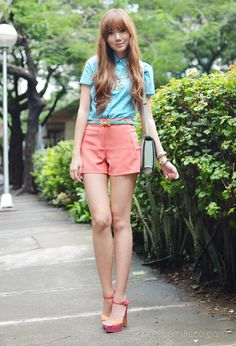 Quirky cute. Sm Mall Of Asia, Camille Co, Cos Fashion, Oufits Casual, Drama Queens, Get Up, Flare Pants, Ankle Strap Sandals, Shorts
