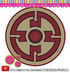 Wayuu Mochila bottom Tapestry Crochet Patterns, Crochet Mandala Pattern, Crochet Stitches Patterns, Crochet Chart, Cross Stitch Patterns, Knit Crochet, Crochet Handbags, Crochet Purses, Mochila Crochet