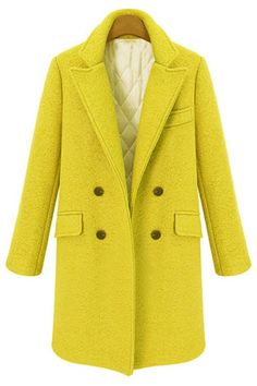 Yellow Long Sleeve Double Breasted Woolen Coat - abaday.com