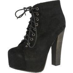 Breckelle's Britney-01 Lace Up Wooden Chunky High Heel Ankel Boot... ($45) ❤ liked on Polyvore featuring shoes, boots, ankle booties, heels, wedge booties, lace up wedge bootie, ankle boots, lace up heel booties and lace-up wedge booties