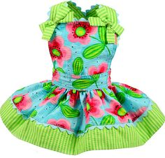 Watermelon Flowers Dog Jumper Dress (Aqua) - $37.95 ($32 at Lucky Puppy Couture)...