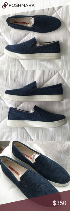 LIKE NEW Prada Blue Denim Slip-On Sneakers Prada sneaker with denim upper. Leather insole. Platform sole. Round toe. Side stretch insets. Tonal topstitching. Rubber outsole. Slip-on style. Prada Shoes Sneakers