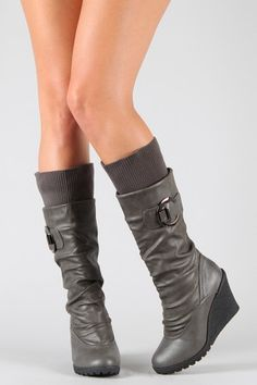 Pure-12 Buckle Sweater Slouchy Knee High Wedge Boot  $26.20