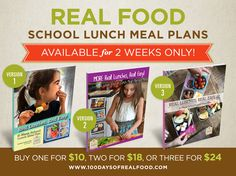 I'm super excited to announce that we're once again offering our Real Lunches, Real Easy School Lunch Meal Plans! Kiran has been hard at work on a new vers