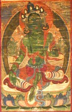 A nineteenth-century or earlier Tibetan Thanka, the painting on cotton depicting Green Tara, the embodiment of infinite compassion, wearing the five-leaf crown, dhoti scarf and body jewellery, sitting in Lalitasana upon a lotus throne, her right hand resting on her knee, her left raised and holding the stem of a lotus flower.(robertfinan.co.uk)