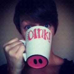 Hand Painted Adorable Pig Snout Coffee Mug, hehe cute