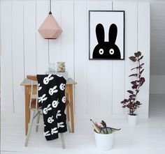 Black and White Bunny Blanket. A sweet addition to the kids' room or playroom.