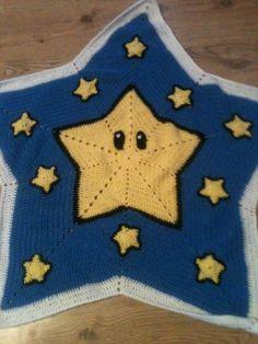 Crochet star blanket afghan Mario star