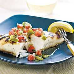 40 Top-Rated Grill Recipes | Halibut with Grilled Tomato and Olive Relish | CookingLight.com