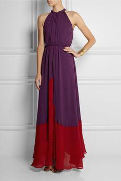 Saloni|Iris pleated chiffon maxi dress|NET-A-PORTER.COM