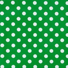 Non-woven oil cloth green w white dots