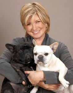MARTHA STEWART WITH HER FRENCH BULLDOGS FRANCESCA AND SHARKEY