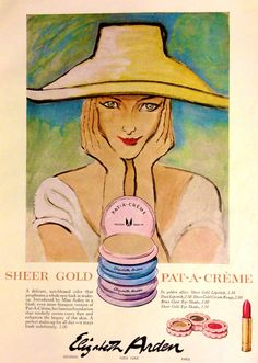 Elizabeth Arden Sheer Gold Pat-A-Créme Makeup Vintage Soul, Vintage Glamour, Vintage Ads, Vintage Designs, Vintage Makeup, Vintage Vanity, Vintage Beauty, Advertising History, Old Advertisements
