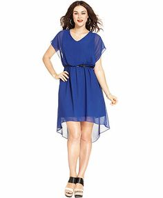 $68 ING Plus Size Short-Sleeve Belted High-Low Dress