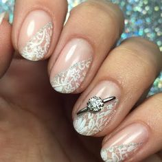 Vintage Lace nail art and gifted www.JamesAllen.com White Gold Halo Nail Jewel flatter Preen Me VIP nail artist Nicole's mani! Don't you just want it on your digits too? #PutARingOnIt