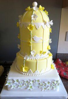 Yellow birdcage cake