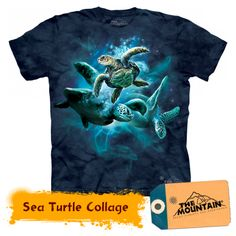Dazzle your friends with the stylish Sea Turtle Collage T-Shirt from The Mountain. Shop our huge selection of animal tees and wear one every day of the week! Gothic, Turtle Shirts, Thing 1, Collage, Screen Printing, Graphic Tees, T Shirts For Women, Vintage, Prints