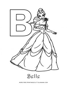 Letter B Coloring Pages, Free Coloring Pages, Free Printable Coloring Pages, Coloring Books, Coloring Sheets, Disney Princess Coloring Pages, Disney Princess Colors, Disney Colors, Disney Letters