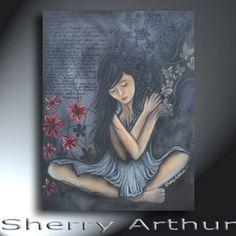 Sad Woman Painting Black Gray Red Original Artwork 18 x 24 Sad