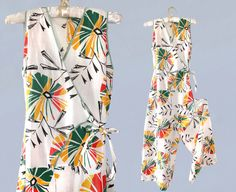 RESERVED Rare! 1930s Beach Pajamas / 30s Cotton Jumpsuit / Novelty Print / Wrap Waist / Wide Leg M L