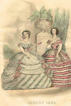 Lady Godey's 1860 fashion plate. Gorgeous gowns.