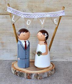 Wooden Peg Doll Cake Topper. Rustic Wedding Cake Topper.Custom
