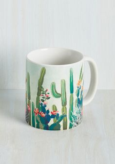 Sip the same herbal remedies you offer your friends and clients in this cactus-printed mug! Whether you start your day with lemon water, oolong tea, or yerba mate, you'll sip in soothing style from this colorfully illustrated ceramic cup.