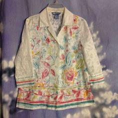 Koret womens floral 3/4 sleeve size PP button down blouse #Koret #ButtonDownShirt