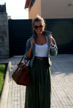 casual summer attire- long skirt and denim.. too bad its too hot in Florida for jackets in the summer