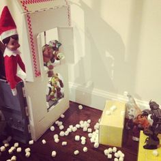 Ballers! Elf on the Shelf Idea: Snowball fight #elfontheshelf #tmnt