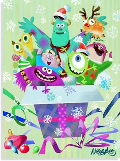 Pixar Post - For The Latest Pixar News: Ricky Nierva's Monsters University Artwork Part of Disney's 23 Days of Christmas - UPDATED Arte Disney, Disney Magic, Disney Pixar, Wallpaper Natal, Disney Wallpaper, Disney Monsters, Monsters Inc, Disney Christmas, Christmas Art