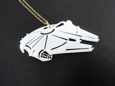 Millenium Falcon Laser cut acrylic pendant star wars necklace Alliance Space Ship by AlcazarDesigns on Etsy https://www.etsy.com/listing/219710788/millenium-falcon-laser-cut-acrylic