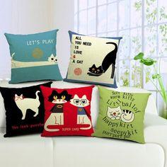 Linen Cotton Cartoon Cat Cushion Cover /Pillow Cover