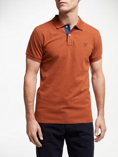80a18b3a614 BuyGANT Contrast Collar Polo Shirt, Orange, XXXL Online at johnlewis.com  Polo Outfit