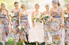 Ryan Ray Photography via Style Me Pretty | floral print bridesmaid dresses #wedding #bridesmaids