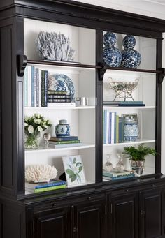 Library Bookcase Styling Shelfie Styling Blue and White Blue White and Green Interior Decorating Interior Styling Interior Design Hamptons Hamptons Style
