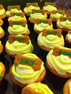 Scooby Doo party cupcakes with Scooby snacks for boy's birthday party