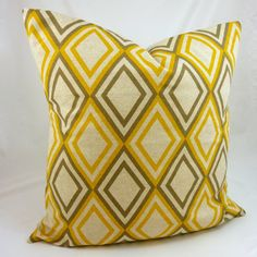 Add to living room couch -- its light yellow, is that okay??  Designer Pillow Cover in Annie Yellow/Kelp - 18x18 or 20x20 inch (Mustard Yellow and Grey Diamond on Natural Linen)