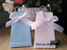 With This Ring Blue Color Wedding Favor Box With White Ribbon 500PCS/LOT wedding candy box Free shipping $130.00