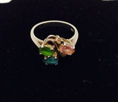 Gemstone Ring Vintage Semi Precious Stones Multicolor by ESTATENOW  #vintage #silver #oldjewelry #quartz #EtsyEur