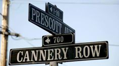 Street signs at intersection of Cannery Row and Prescott Ave in Monterey