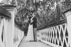 Magnolia Plantation Wedding Couple Portraits White Bridge