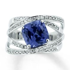 Lab-Created Sapphire Sterling Silver Ring  may not be real, but it is still pretty!