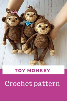 crochet pattern in English PDF / amigurumi monkey Toy Monkey, Cute Monkey, Crotchet Patterns, Amigurumi Toys, Stuffed Toys Patterns, Crochet Accessories, Beautiful Crochet, Handmade Toys, Crochet Toys