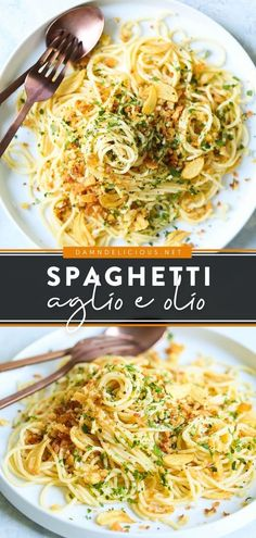 The perfect pasta recipe for weeknights! While quick and easy to make, this Spaghetti Aglio e Olio is packed with so much flavor. Plus, you already have the ingredient son hand for this family dinner idea! Pasta Dinner Recipes, Dinner Recipes Easy Quick, Healthy Pasta Recipes, Vegetarian Recipes Dinner, Quick Easy Meals, Cooking Recipes, Simple Recipes, Easy Dinners, Delicious Recipes